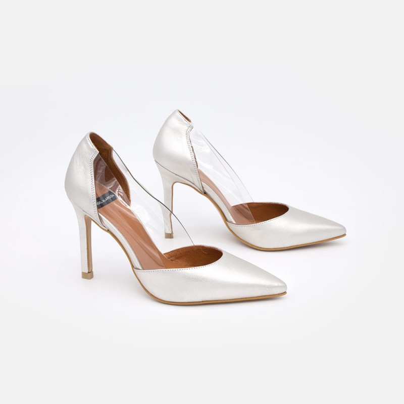 Zapatos verano 2021 piel metalizado plataCUNDAYA - Stiletto de vinilo de tacón fino. Zapatos de vestir y fiesta
