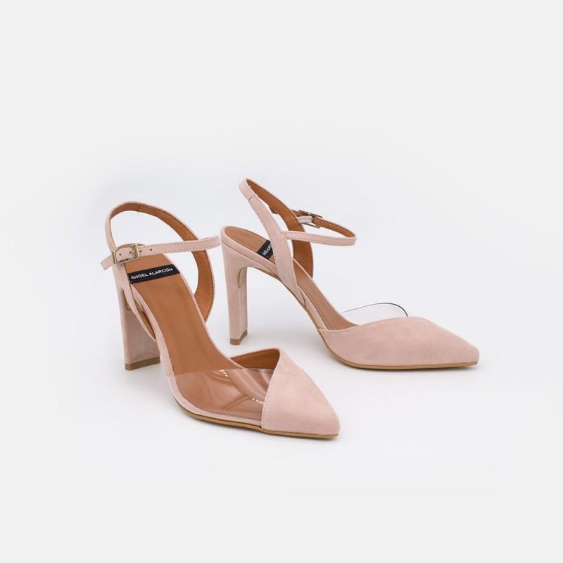ante rosa nude RODAS - Zapato de vestir de vinilo con la puntera cerrada atado al tobillo. Mujer verano 2021. España Spain