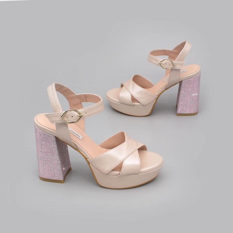 HELLEN Sandalias cómodas con plataforma y tacón ancho de purpurina zapatos de novia 2020 Ángel Alarcón nude rosa palo plata