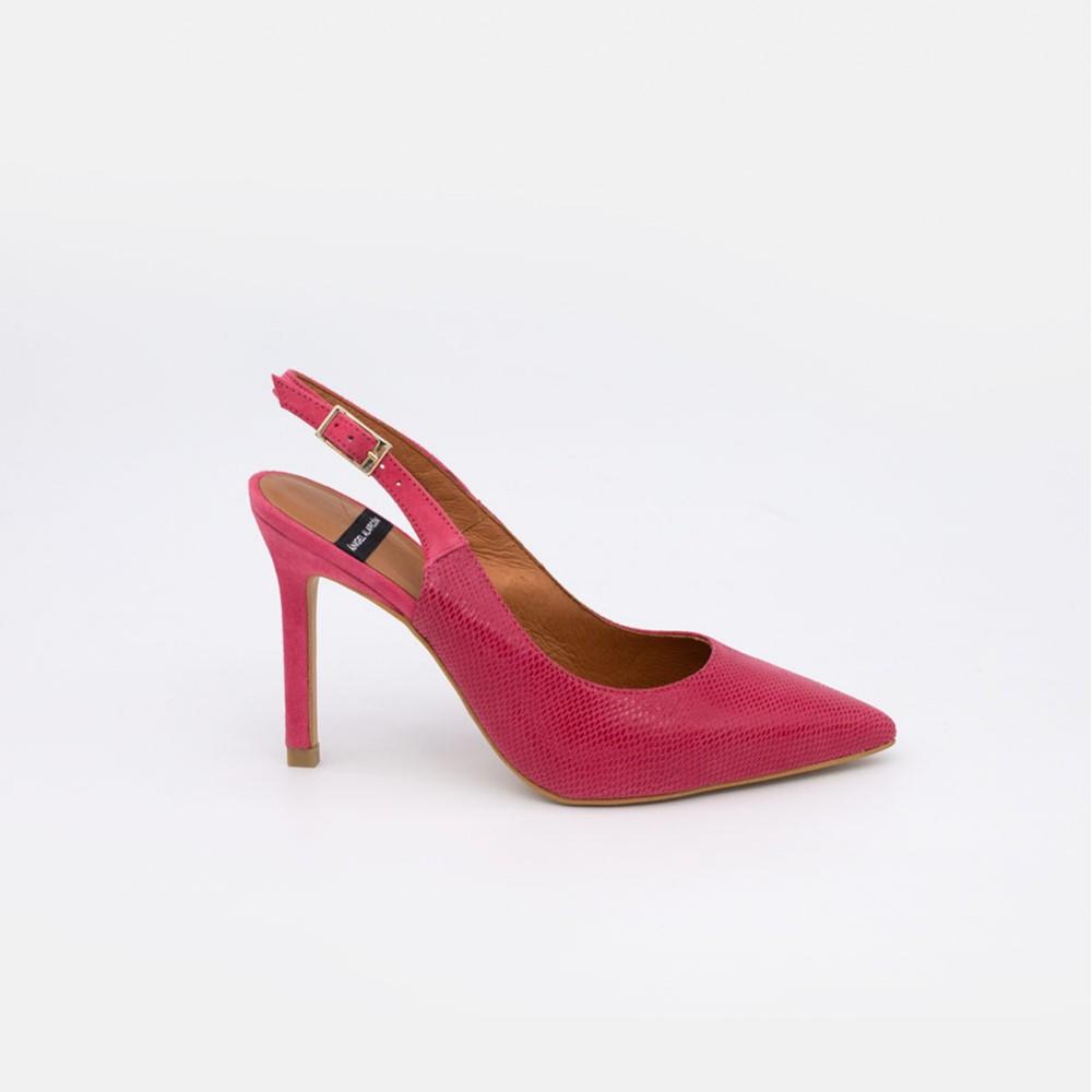 Zapatos mujer ante fuxia buganvilla CAPRI Stiletto destalonado de ante y print serpiente. Zapatos de vestir y fiesta verano 2021