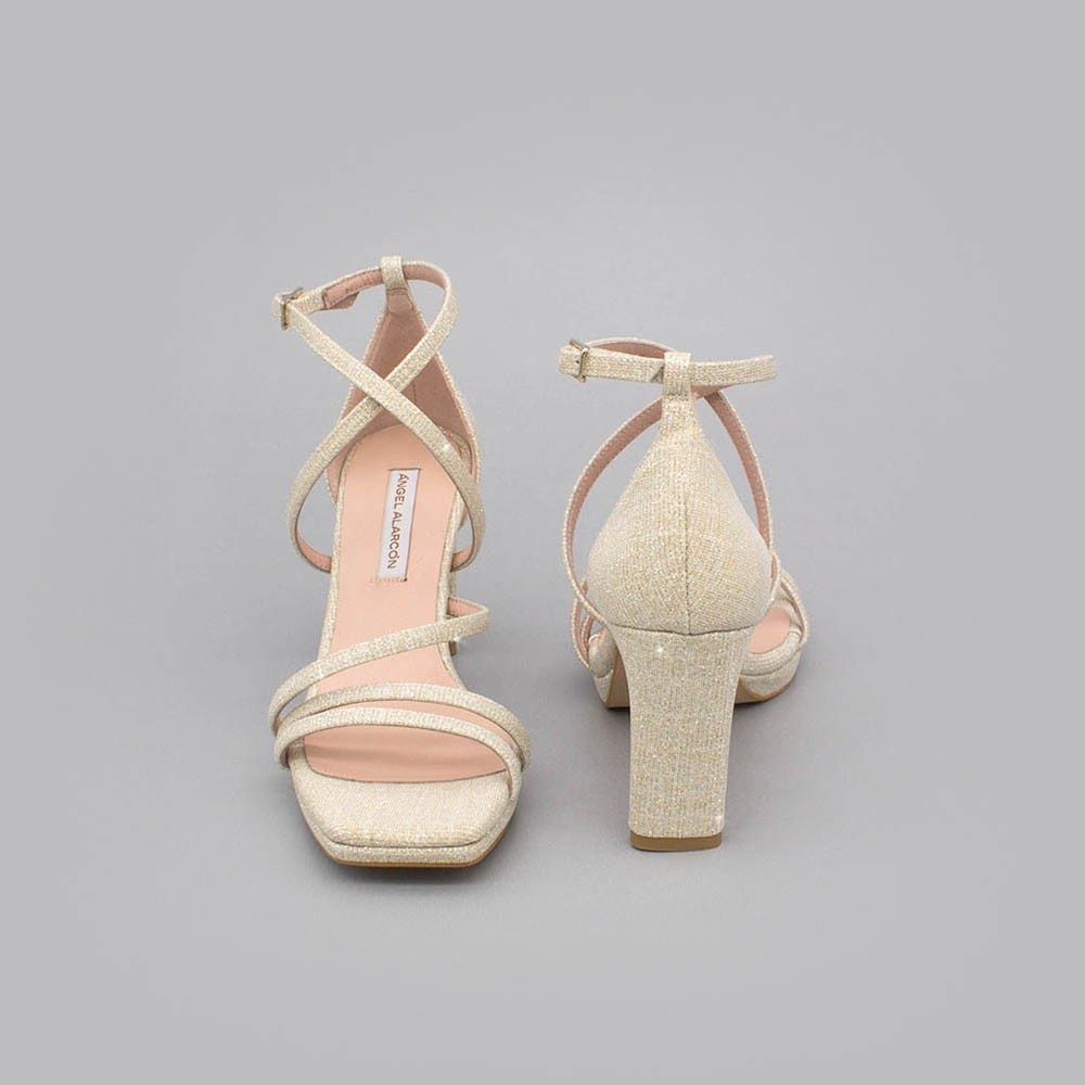 ANNY Sandalias de fiesta de tiras  tacón y plataforma purpurina brilli brilli oro dorada  zapatos novia 2020 Ángel Alarcón