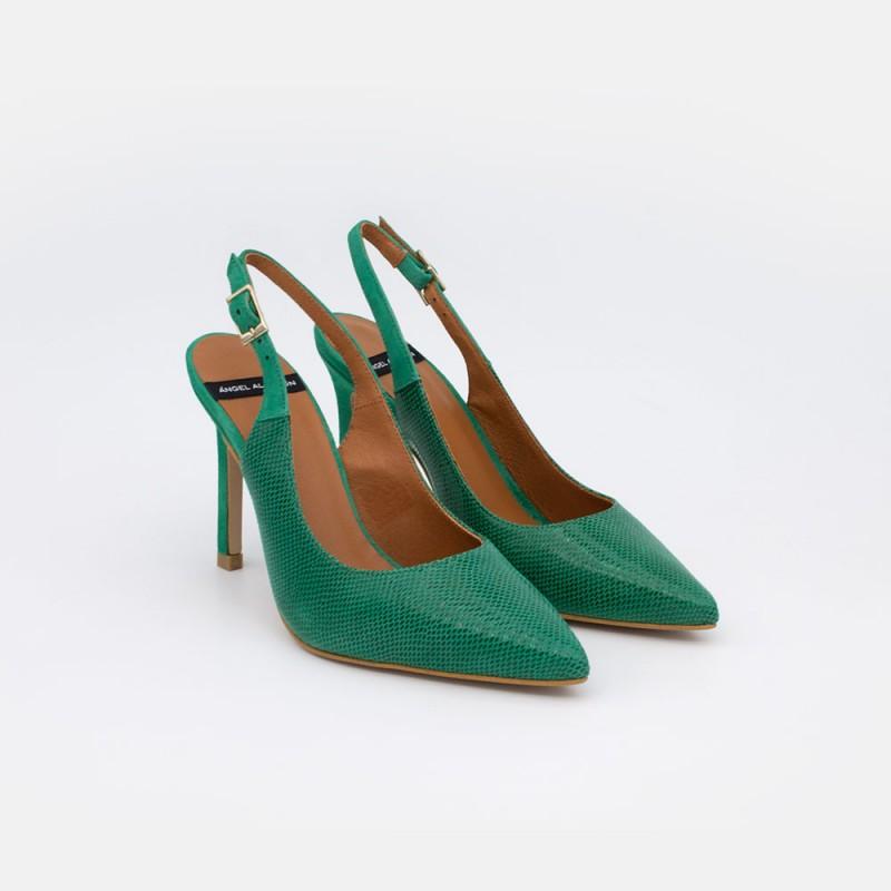 Zapatos mujer ante verde andalucia CAPRI Stiletto destalonado de ante y print serpiente. Zapatos de vestir y fiesta verano 2021