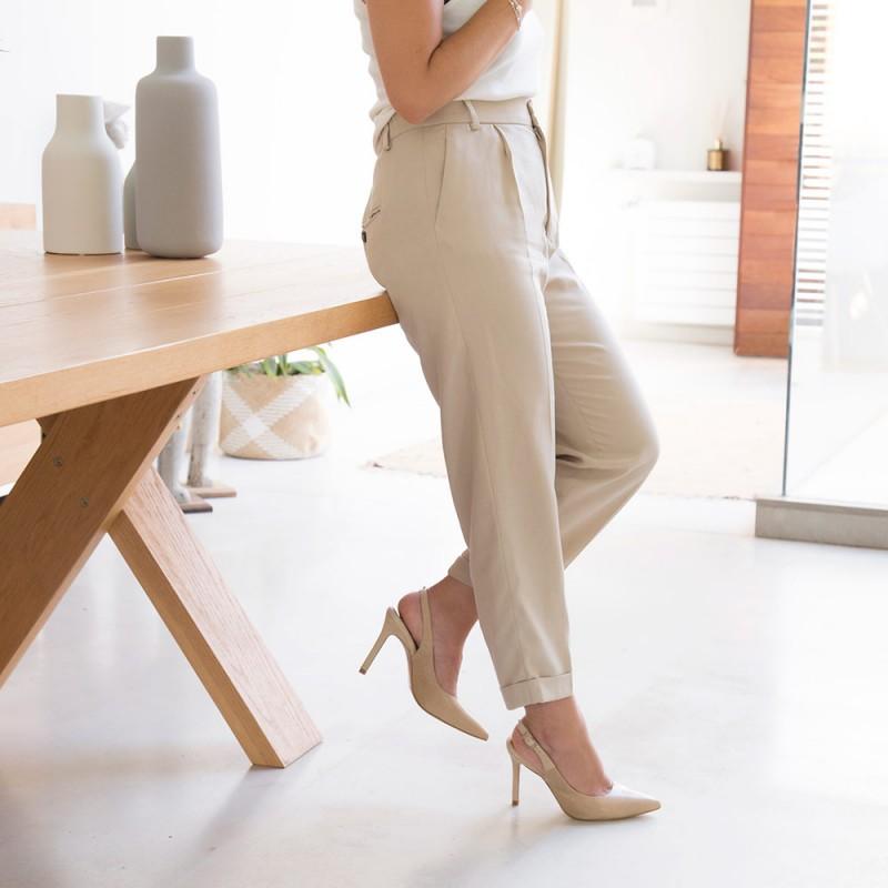 Zapatos mujer ante nude beige CAPRI Stiletto destalonado de ante y print serpiente. Zapatos de vestir y fiesta verano 2021