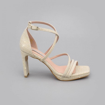 Glitter gold - ANNY - Glitter Strappy sandals with heel. Made in Spain. Wedding and party shoes 2020. Angel Alarcon collection
