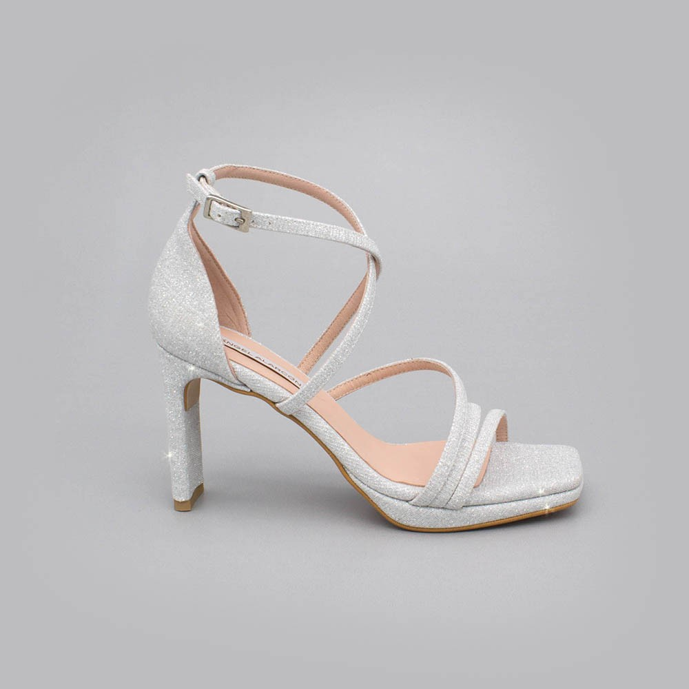 Glitter silver - ANNY - Glitter Strappy sandals with heel. Made in Spain. Wedding and party shoes 2020. Angel Alarcon collection