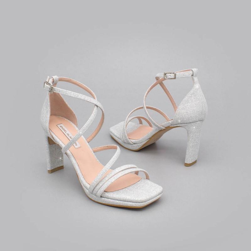 ANNY Sandalias de fiesta de tiras  tacón y plataforma purpurina brilli brilli plata plateada zapatos novia 2020 Ángel Alarcón