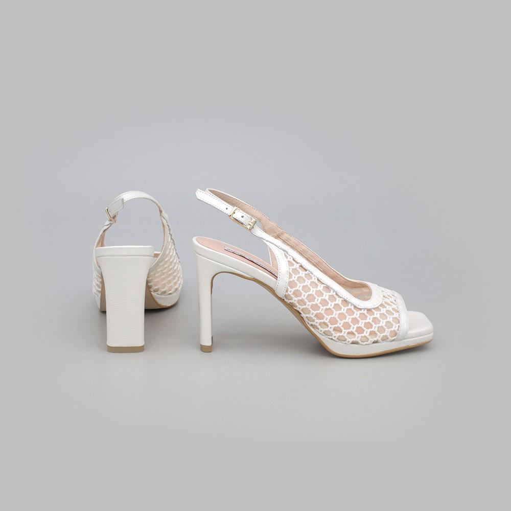 zapato blanco TESSA - Zapato de vestir de rejilla destalonado con puntera abierta cuadrada Angel Alarcon España