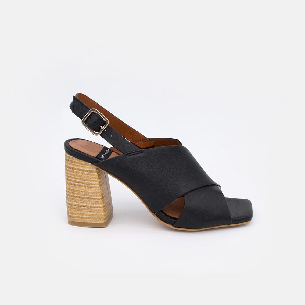20064 piel negro MURANO Sandalias de mujer con tacon alto y ancho de madera. Zapatos verano 2021 angel alarcon