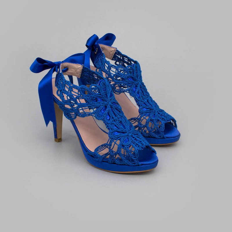Blue lace satin - LOVERS - Platforms High heels Sandals. Wedding and party women's shoes 2020. Made in Spain. Angel Alarcon.