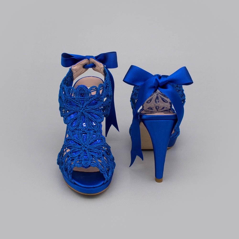 raso azul azulon LOVERS Sandalias originales de raso y cordela tacón alto plataforma zapatos de novia 2020 Ángel Alarcón