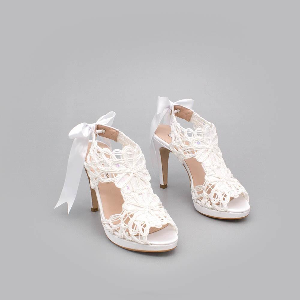 raso blanco blanca LOVERS Sandalias originales de raso y cordela tacón alto plataforma zapatos de novia 2020 Ángel Alarcón