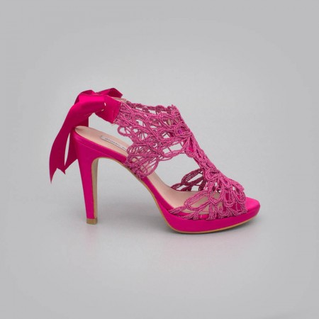 Fuchsia lace satin - LOVERS - Platforms High heels Sandals. Wedding and party women's shoes 2020. Made in Spain. Angel Alarcon.