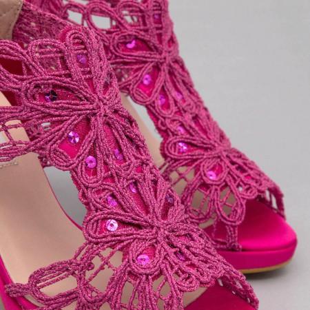 fucsia buganvilla rosa LOVERS Sandalias originales de raso y cordela tacón alto plataforma zapatos de novia 2020 Ángel Alarcón