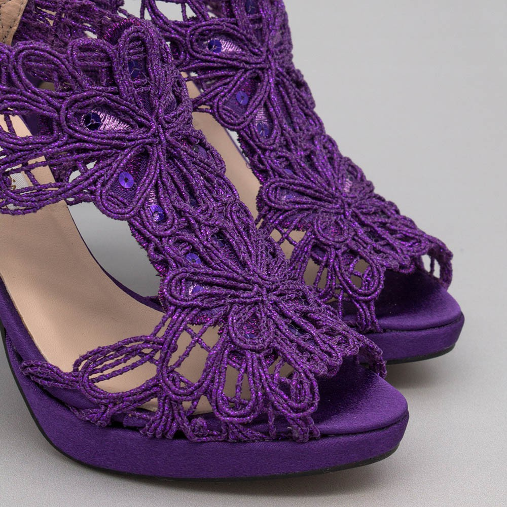 Purple lace satin - LOVERS - Platforms High heels Sandals. Wedding and party women's shoes 2020. Made in Spain. Angel Alarcon.