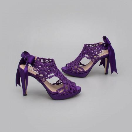 morado lila violeta LOVERS Sandalias originales de raso y cordela tacón alto plataforma zapatos de novia 2020 Ángel Alarcón