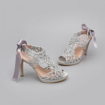 Silver lace satin - LOVERS - Platforms High heels Sandals. Wedding and party women's shoes 2020. Made in Spain. Angel Alarcon.