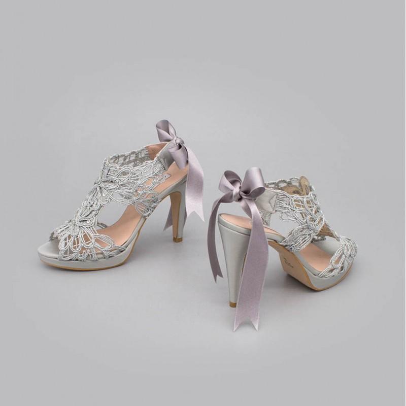plata plateado LOVERS Sandalias originales de raso y cordela tacón alto plataforma zapatos de novia 2020 Ángel Alarcón