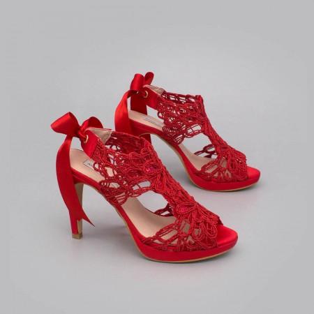 rojos rojo LOVERS Sandalias originales de raso y cordela tacón alto plataforma zapatos de novia 2020 Ángel Alarcón
