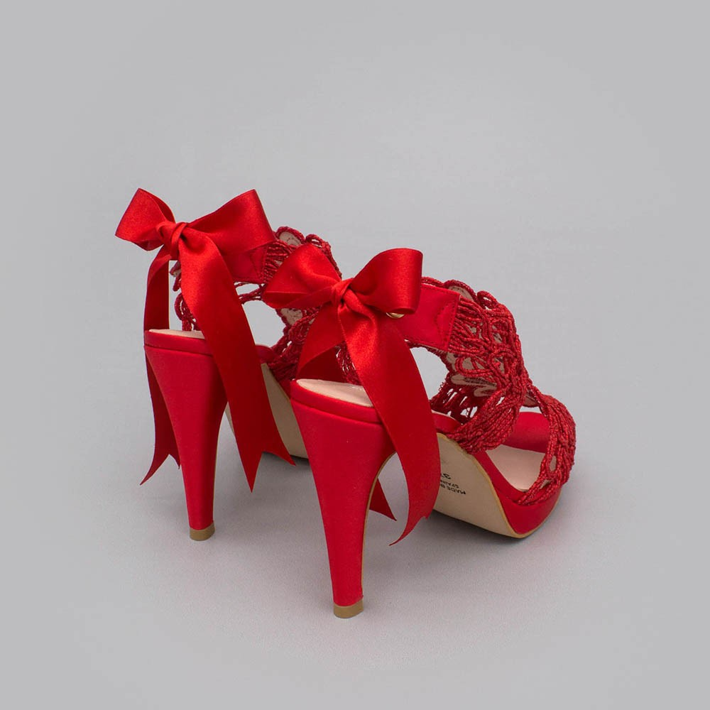 Red lace satin - LOVERS - Platforms High heels Sandals. Wedding and party women's shoes 2020. Made in Spain. Angel Alarcon.