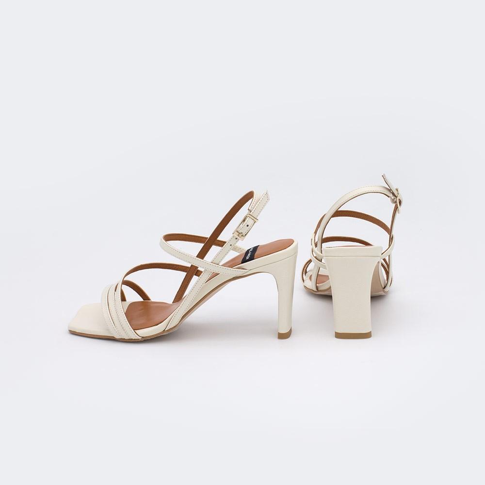 piel blanco BADRA - Sandalia de tiras finas con tacon para mujer. Zapatos primavera verano 2021. 21046-750V Angel Alarcon