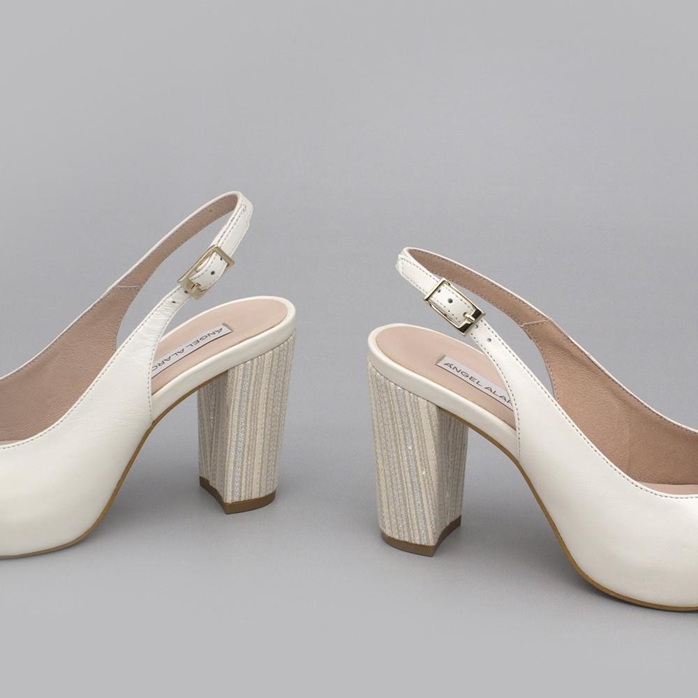 WILMA piel blanco Zapatos destalonados cómodos con tacón ancho y plataforma zapatos de novia y fiesta 2020 Angel Alarcon España