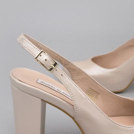 WILMA piel nude Zapatos destalonados cómodos con tacón ancho y plataforma zapatos de novia y fiesta 2020 Angel Alarcon España