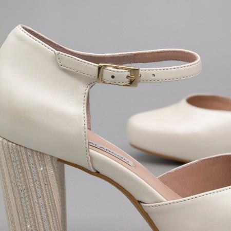 ALICE piel blanco plata plateado Zapatos cómodos de novia y fiesta con tacón ancho y plataforma  2020 Angel Alarcon mujer