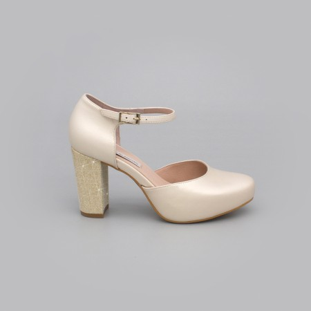 ALICE piel ivory hueso dorado oro Zapatos cómodos de novia y fiesta con tacón ancho y plataforma  2020 Angel Alarcon mujer