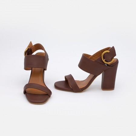 Zapatos de mujer verano 2021 de piel marrón oscuro cuero. Sandalia de piel con tacón ancho. Angel Alarcon 20009-129A