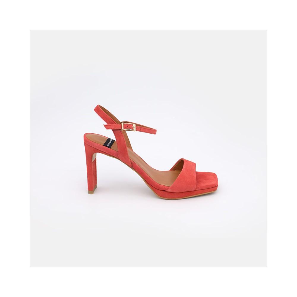 piel ante naranja coral. Zapatos mujer verano 2021. NEVIS Sandalias de tacón alto básicas con plataforma Ángel Alarcón zapatos
