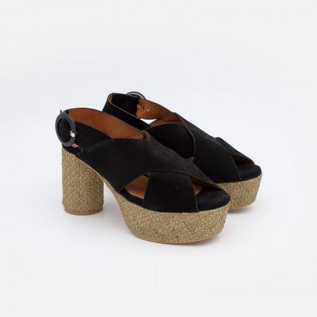 Zapatos de mujer verano 2021. Ante negro. andalias de mujer de tacón redondo y plataforma de rafia. Angel Alarcon 20022-286F