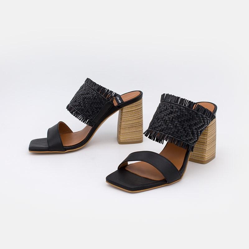 color negro PIANA Sandalias de vestir de mujer con tacón ancho alto 20062-555E. Angel Alarcón zapatos mujer verano 2021