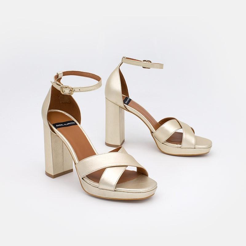 metalizado dorado LEVANZO Sandalia de mujer con pulsera de tacon ancho y plataforma Angel Alarcon 20065-750Q Zapatos verano 2021