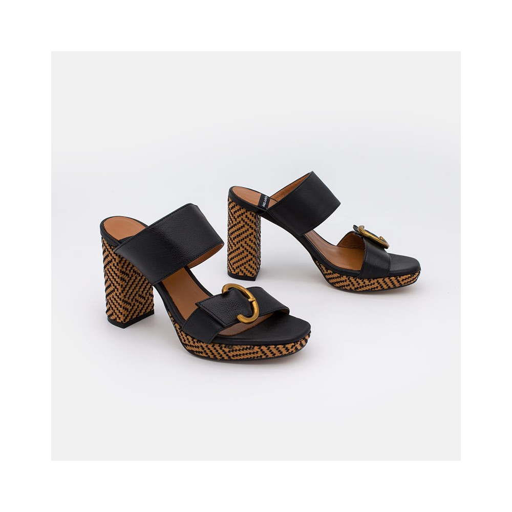 color negro IMRALI - Sandalia de piel con tacón ancho y plataforma. Zapatos mujer verano 2021 20067-750Q