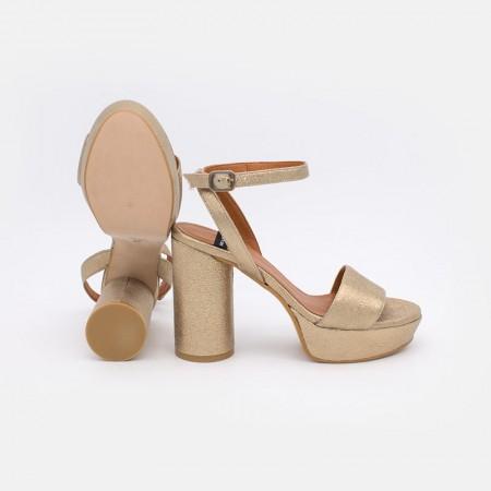 Zapatos mujer dorados verano 2021 KOS Sandalias de tacón redondo y alto con plataforma. 20069-750U Ángel Alarcón. España