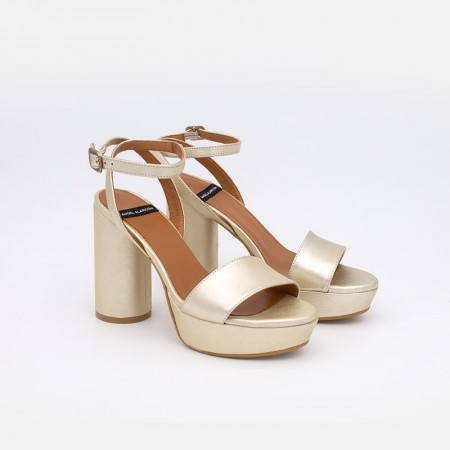 Zapatos mujer dorados oro verano 2021 KOS Sandalias de tacón redondo y alto con plataforma. 20069-750U Ángel Alarcón. España
