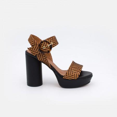 Zapatos mujer verano 2021 negro y cuero GOZO Sandalias de rafia de tacón redondo y alto con plataforma. 20070-750U Ángel Alarcón