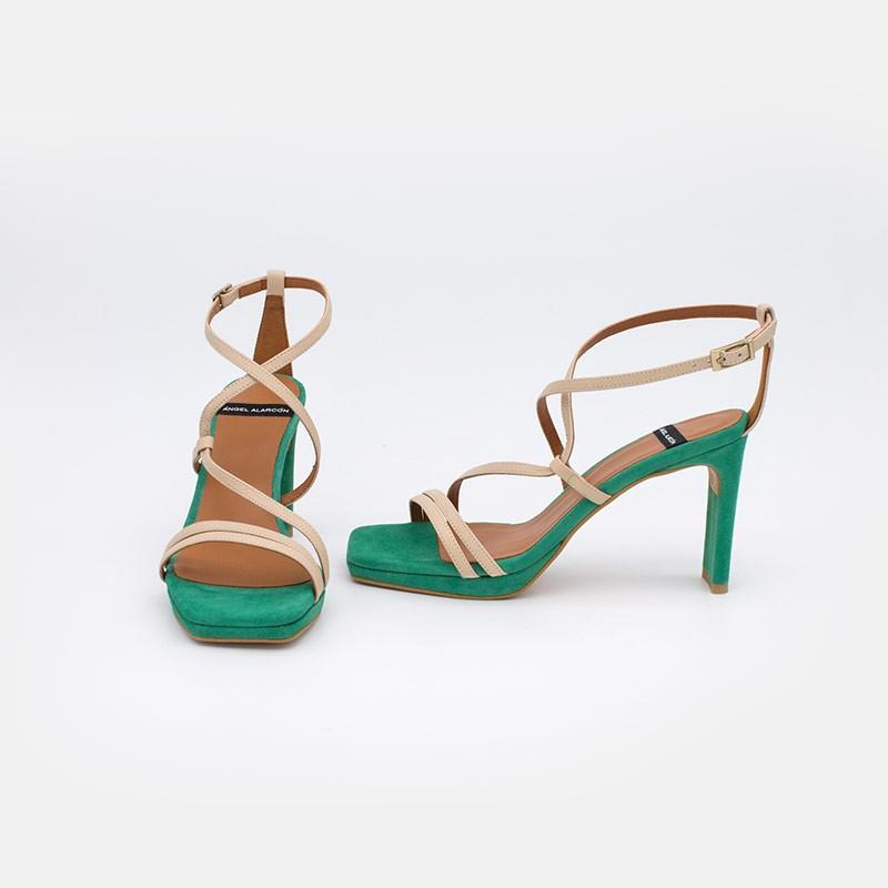 zapatos mujer verde ante beige piel ZANTE Sandalias de tiras cruzadas con tacón alto y plataforma. Ángel Alarcón 20078-750X