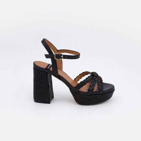 Zapatos mujer verano 2021 color negro WADIA Sandalias cómodas piel y rafia de tacón alto y plataforma. Ángel Alarcón 21053-750O