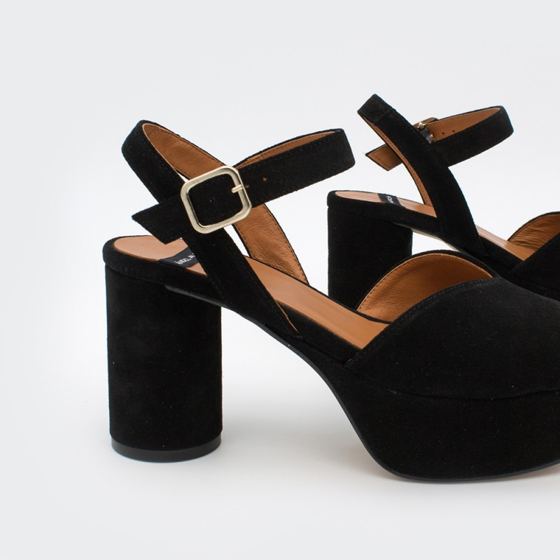 ante negro BAFFIN - Sandalias de piel cómodas con tacón grueso medio y plataforma 2020 mujer Ángel Alarcón primavera verano