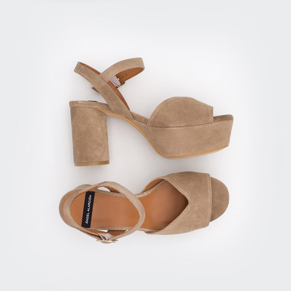 ante marrón BAFFIN - Sandalias de piel cómodas con tacón grueso medio y plataforma 2020 mujer Ángel Alarcón primavera verano