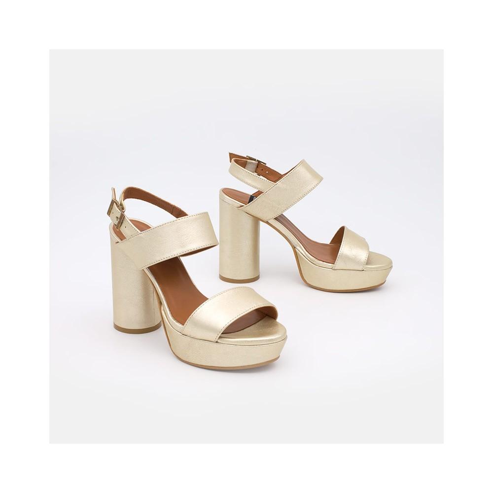 Piel dorada. MAHE - Sandalias de plataforma con tacón alto y redondo. Zapatos mujer verano 2021 20145-750U-G Ángel Alarcón