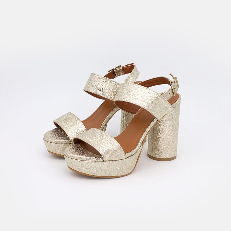 Dorado MAHE Sandalias metalizadas de plataforma con tacón alto y redondo. Verano 2021. Zapatos mujer 20145-750U-J Angel Alarcon