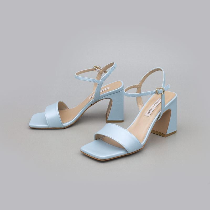 Azul bebe MEGAN Sandalias de piel nacarada con tacón ancho alto. Zapatos de novia y fiesta 2021 2022 21150-526B Angel Alarcon