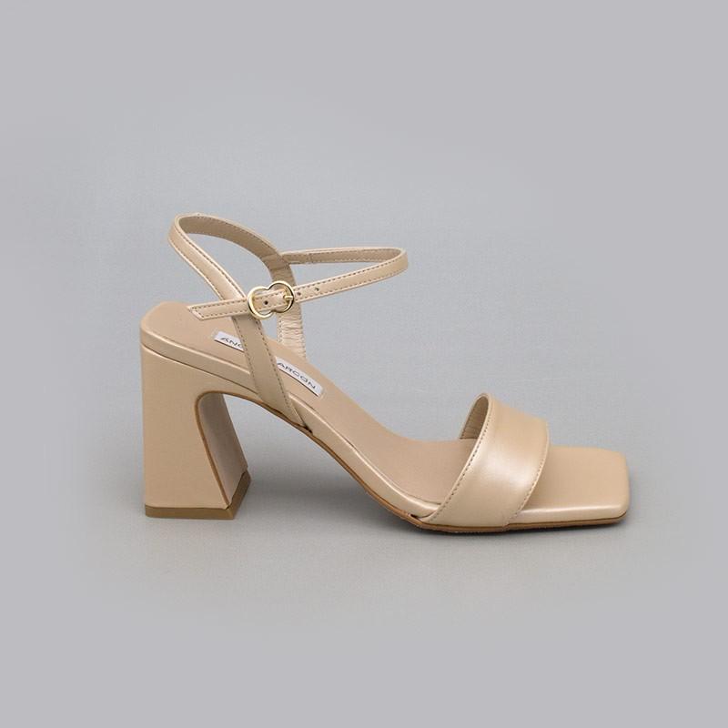 Beige dorado MEGAN Sandalias de piel nacarada con tacón ancho alto. Zapatos de novia y fiesta 2021 2022 21150-526B Angel Alarcon