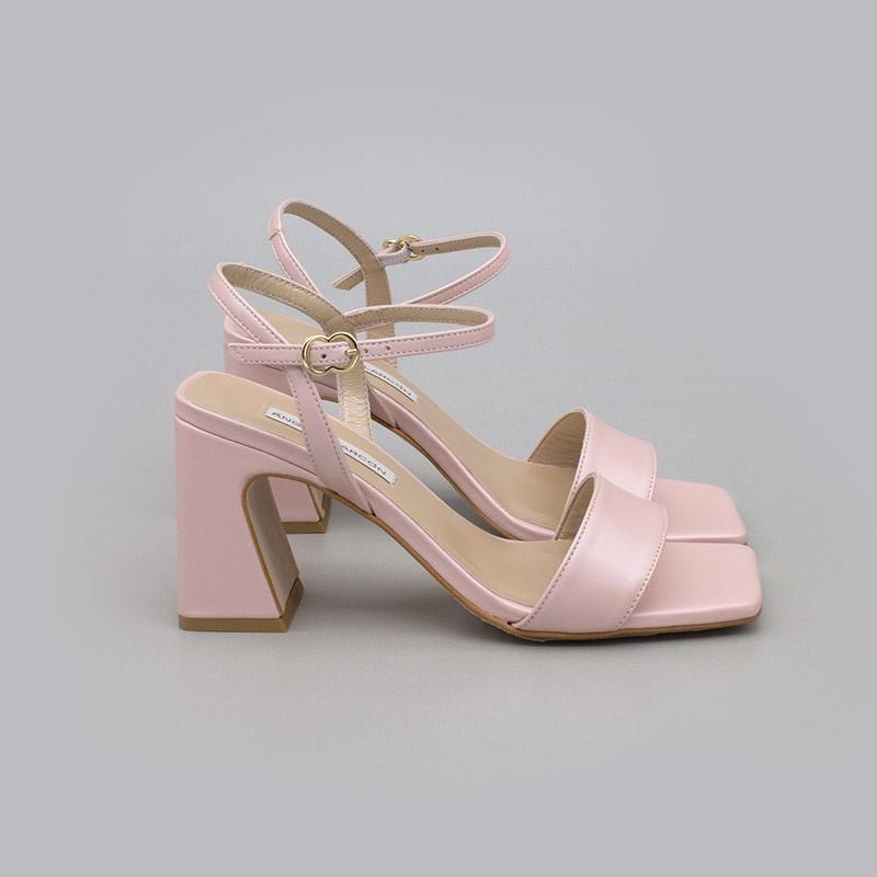 Rosa bebe MEGAN Sandalias de piel nacarada con tacón ancho alto. Zapatos de novia y fiesta 2021 2022 21150-526B Angel Alarcon