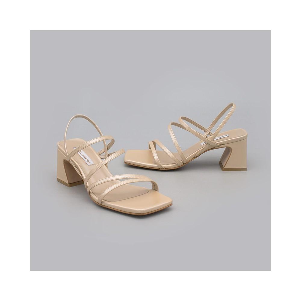 beige dorado ENMA Sandalias de tiras cómodas con tacón ancho. Zapatos de novia y fiesta 21017-528B ANGEL ALARCON 2021 2022