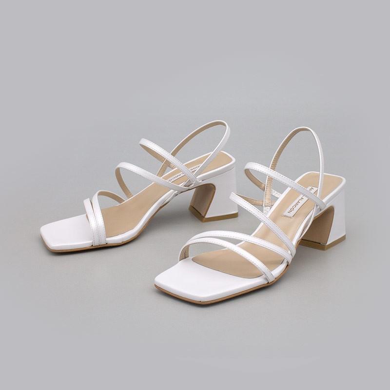 blanco ENMA Sandalias de tiras cómodas con tacón ancho. Zapatos de novia y fiesta 21017-528B ANGEL ALARCON 2021 2022