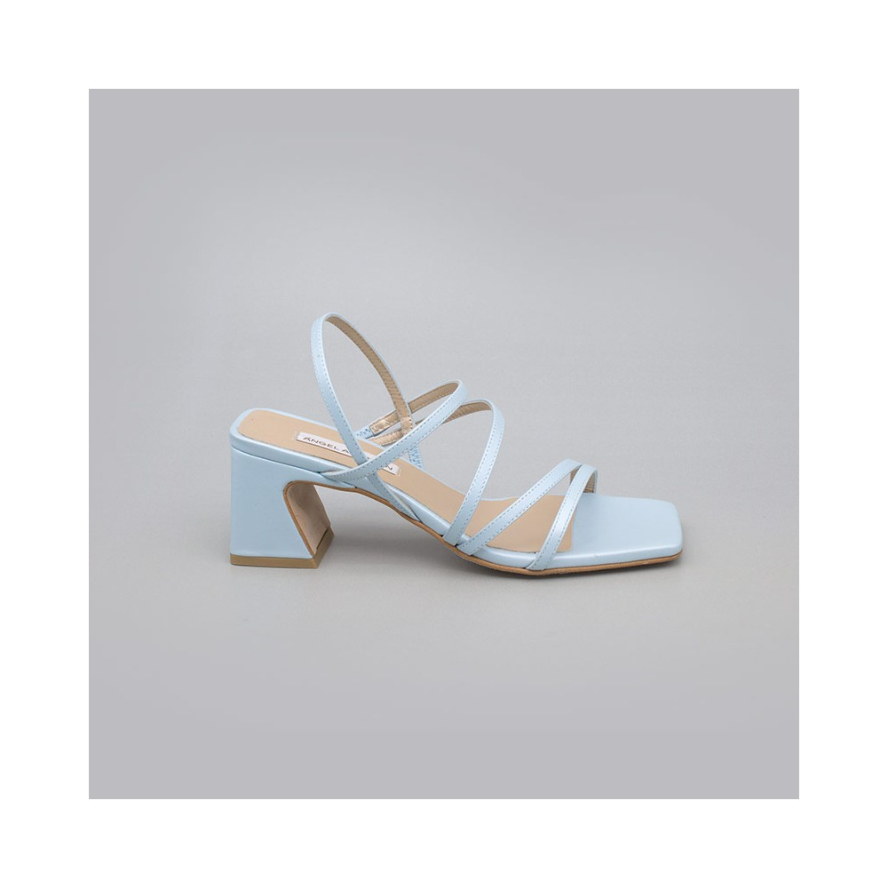 AZUL BEBE ENMA Sandalias de tiras cómodas con tacón ancho. Zapatos de novia y fiesta 21017-528B ANGEL ALARCON 2021 2022