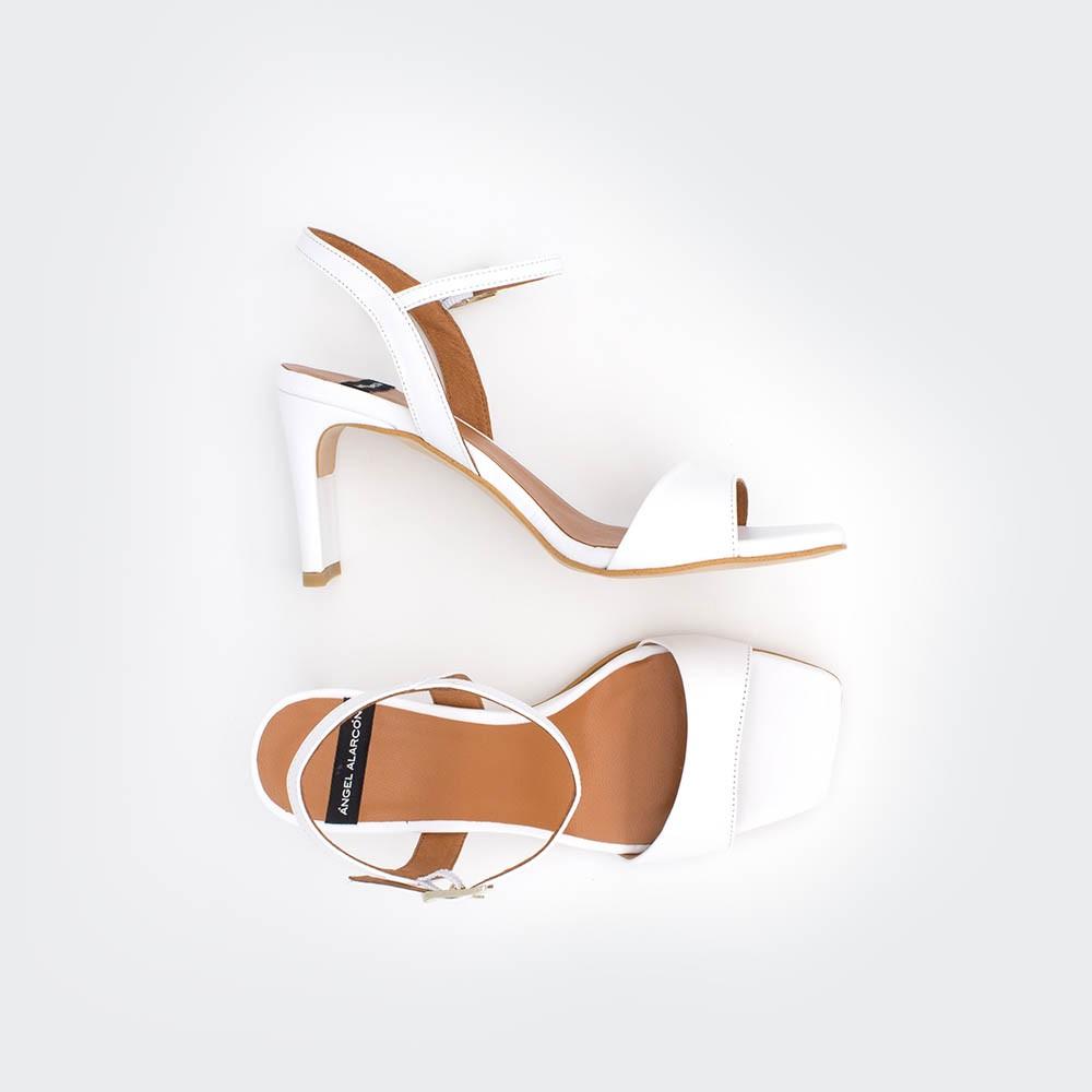 blanco blanca piel NORONA - Sandalias de tacón básicas y cómodas primavera verano 2020 mujer Ángel Alarcón
